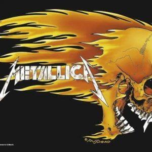 Metallica Skull & Flames Seinälippu 100% Polyesteria