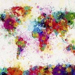 Michael Tompsett World Map Paint Drop Juliste