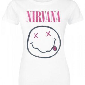 Nirvana White Smiley T-paita
